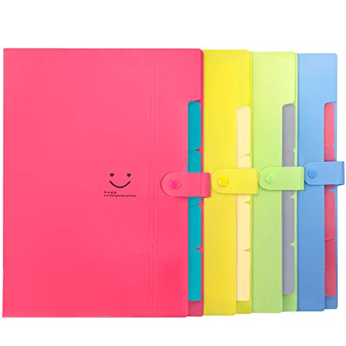 (Initial heart 4 Colored Expanding File Folders with 5 Pockets Accordion Folder Organizer A4 Letter Size Plastic Snap Closure Paper Organizer Document Holder for School Office Travel)