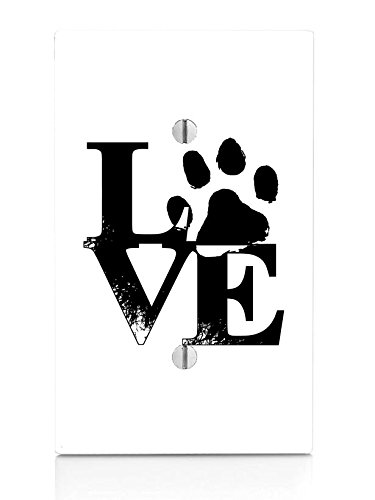 - Moonlight Printing Love Pet Pets Paws Dog Cat Puppy Kitten Stacked Single Blank Electrical Switch Plate