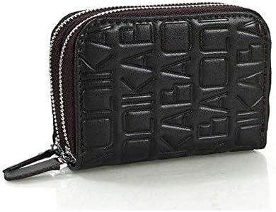 女性の男性本物のレザーダブルジッパー中間層カードホルダー財布の小銭入れ YZUEYT