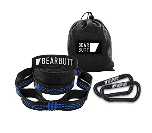 Bear Butt Kodiak Hammock Straps - 40 Combined Loops - 20 Feet Long - Holds 1000 Pounds from Our Extra Reinforced Triple Stitching - Get Our Hammock Tree Straps - Start Up Company (Black/Blue)