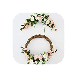 Rose Artificial Flowers Garland European Lintel Wall Decorative Door Wreath for Wedding Home Christmas Decoration 84