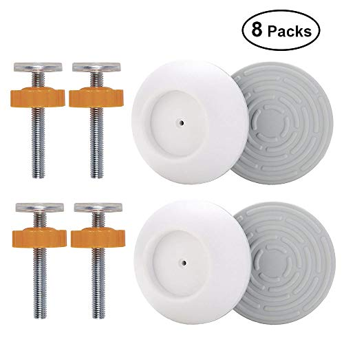 Threaded Spindle - OFUN 4 Pack Baby Gates Wall Cups, 4 Pack M10 Pressure Gates Threaded Spindle Rods, Safety Wall Bumpers Guard Fit for Baby Gates, Doorway, Stairs, Baseboard, Spindle Rods Kit for Dog Pet Kid