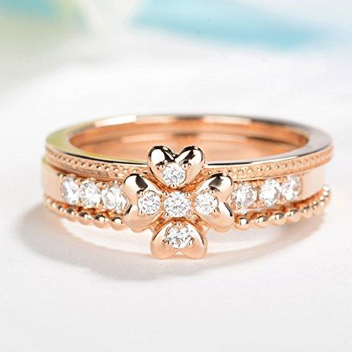 Rose gold engagement ring vintage bridal ring set Diamond wedding band Heart engagement ring milgrain wedding band Clover ring Bead Diamond (Gold Milgrain Heart)