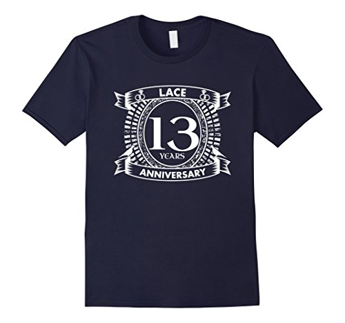 Mens Thirteenth wedding anniversary lace traditional t-shirt Small Navy