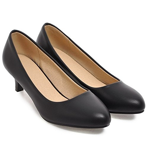 TAOFFEN Women's Basic Slip On Court Shoes Heels 4cm Black 83tIE571iA