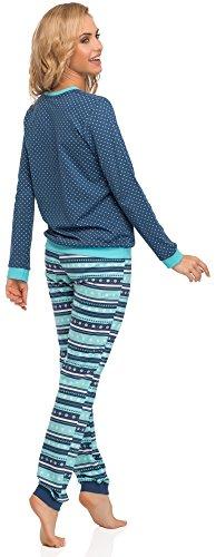 Jeans emily 671 Turchese Donna Pigiama Cornette Manica Lunga 2016 a qFU0Twf
