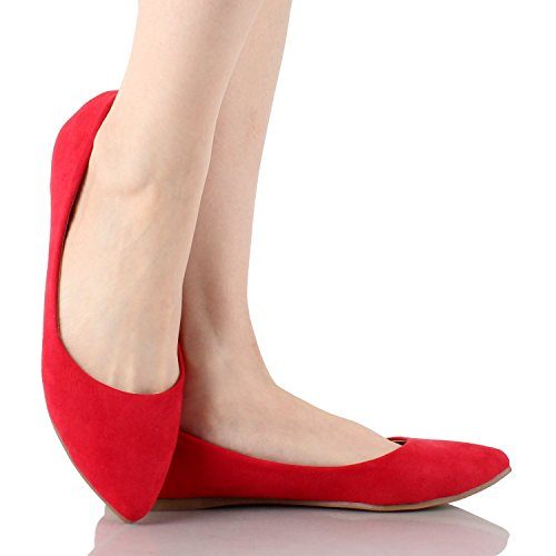 Suede Bella Flats Angie Toe Marie 53 Classic Red Pointy On Slip Women's Ballet qqvwPrZ