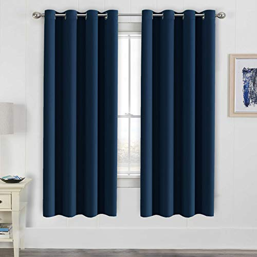 H.VERSAILTEX Ultimate Blackout Solid Grommet Thermal Insulated Curtain Panels/Drapes,52W x 72L - Inch (Set of 2,Navy)
