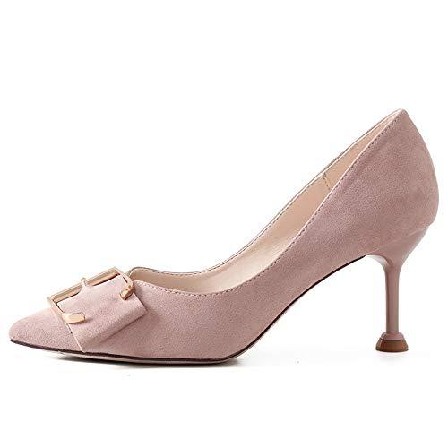 Yukun zapatos de tacón alto Moda De Otoño Shallow Temperament Acentuado Zapatos Individuales Versátil Tacones De Aguja Commuter, 36, Naranja Pink