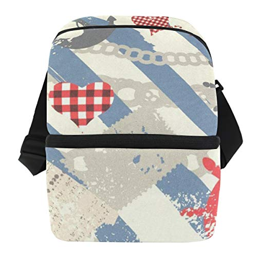 Lunch Bag Grunge Nautical Insulated Cooler Bag Mens Leakproof Lunch Storage Zipper Tote Bags for Outdoor - Quart Double Pail