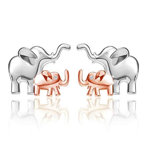 Freeco Elephant Stud Earrings 925 Sterling Silver Earrings Lucky Cute Ear Studs for Women Girls