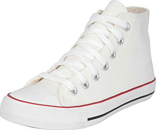 Cambridge Select Women's Classic High Top Cap Toe Canvas Lace-Up Fashion Sneaker,7 B(M) US,White