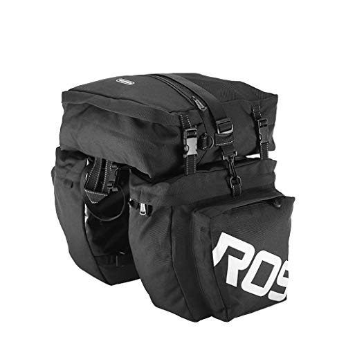OWMEOT Bicycle Carrier Bag Rear Rack Trunk 37L Bike Luggage Back Seat Pannier 3 Bags Cycling Saddle Storage (Black)