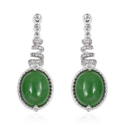 925 Sterling Silver Oval Green Jade White Zircon Dangle Drop Earrings Gift Jewelry for Women
