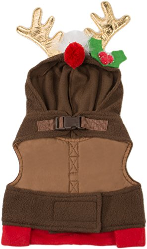 Friends Forever Reindeer Hoodie Cozy Vest Winter Jacket Coat Sweater Furry Collar Red Harness Pet Puppy Dog Christmas Clothes Costume Outwear Apparel Cat (Extra Small) -