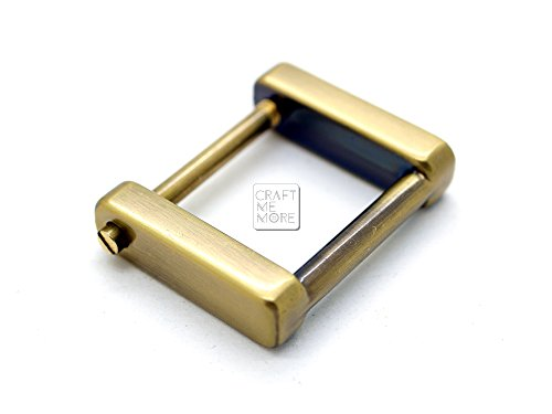 CRAFTMEmore Rectangular SCREW Rings Buckle Strap Connector Purse Hardware Bag Loop 4 pcs 3/4 or 1 Inch (3/4 Inch, Brushed Gold (Bronze))