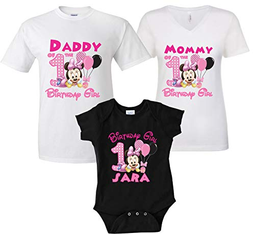 Minnie Mouse Custom Shirts (Baby Minnie Mouse Birthday Girl Matching Family Tshirts Custom Age and)