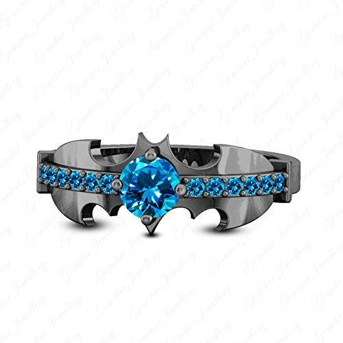 1/2 Ct Blue Topaz Ring - Gemstar Jewellery 0.50 Carat Blue Topaz 14K Black Gold Plated Batman Inspired Engagement Wedding Ring