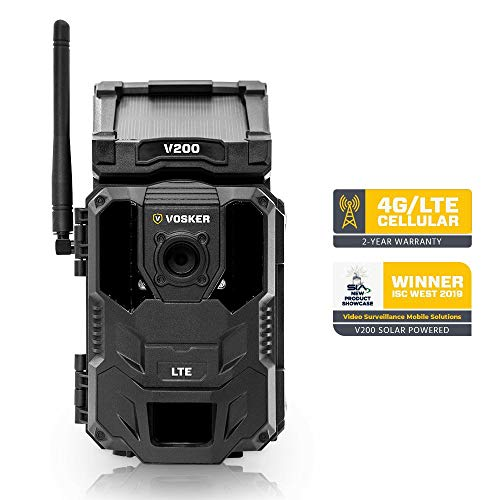 Vosker V200   Outdoor Security Camera   Built-in Solar Panel   Cellular LTE, Wireless, Weatherproof, No Wi-Fi Required   Motion Activated HD Surveillance Cameras   Mobile Phone Push Notifications