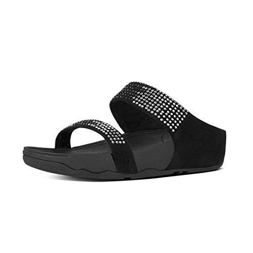 f7174bf79 Fit Flop Women s Flare Slide Black Leather Fashion Sandals - 5 UK ...