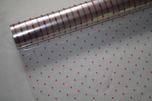 ((602) CHRISTMAS CELLOPHANE Red Dot Hampers Gift Wrapping etc. (50m x 80cm Red Dot Cellophane) by floral supplies)