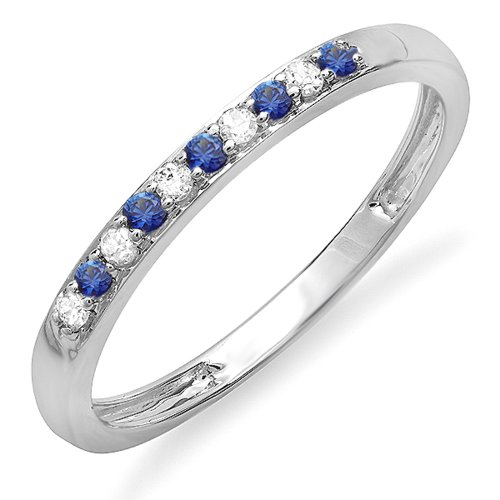 10K White Gold Round Blue Sapphire & White Diamond Ladies Anniversary Wedding Band Ring (Size 7)