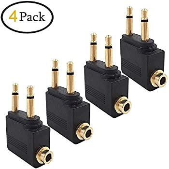 valefod 4-pack airline airplane flight adapters for headphones, golden  plated 3 5mm jack