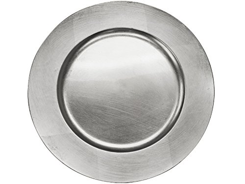 BalsaCircle 6 pcs 13-Inch Silver Acrylic Round Charger Plates - Dinner Chargers Wedding Party Supplies for all Holidays