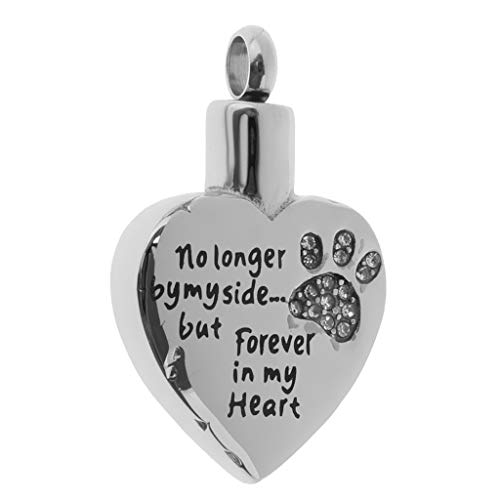 Heart with Clear Crystal Paw Print Pendant Pet Ashes Urn Memorial Jewelry