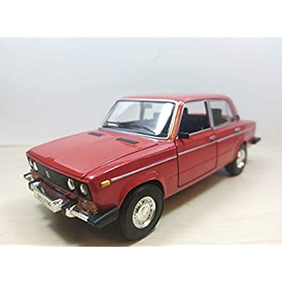 VAZ-2106 Red 1/24 Scale Zhiguli Lada 1600 Soviet Sedan USSR 1976 Year Collectible Diecast Metal Model Car & Toy for Kids: Toys & Games