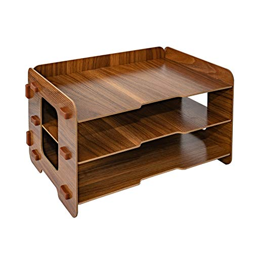 3 Layer Wood File Tray / 3 Tier Desk Organizer/Desktop Letter Tray Organizer/Files and Folder Tray/Paper Stacking Trays/Filing Organizer/Letter and Paper Organizer (Black Walnut Color) by HOOMELE (Image #1)