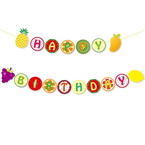 Tutti Frutti Banner Kids Happy 2nd Birthday Decoration Fruit Themed Summer Party Supplies