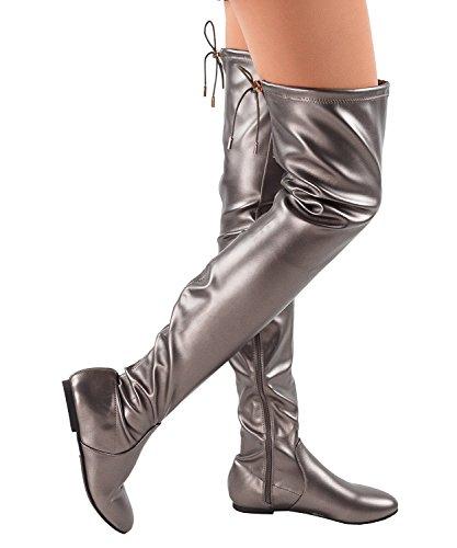 ShoBeautiful Frauen Oberschenkel Hohe Flache Stiefel Stretchy Kordelzug Mode Overknee Stiefel Zinn Met Pu