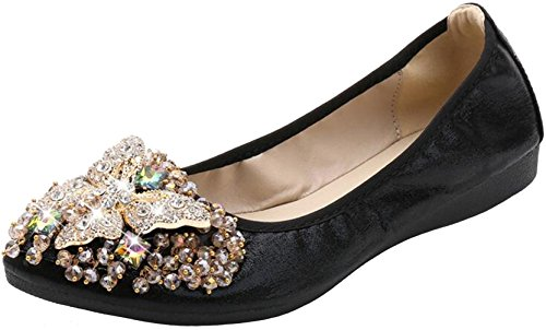PPXID Women's Girl's Lady's Crystal Slip-on Loafers Foldable Ballet Shoes-Black 11 US Size by PPXID