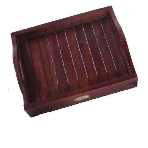 Solid Teak Serving Amenity Display Tray- 14 Inches By 12.75 Inches- For Bathroom, Kitchen, Patio, Bedroom