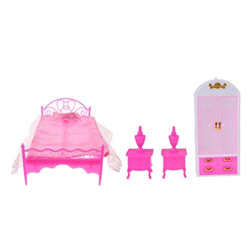 Homyl 4pcs Set de Miniatura Cama + Armario + Lámpara de Cama de Plásticos para Muñeca