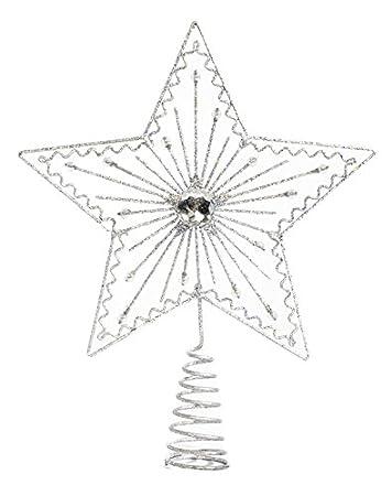 Spitze Für Tannenbaum.Heitmann Deco Weihnachtsbaum Spitze Metall Baumspitze Stern In Silber Glitzernder Blickfang Für Den Christbaum
