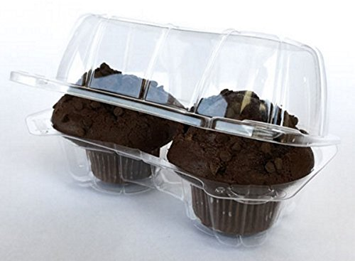 20 Ct. Double Cupcake Plastic Takeout Boxes - Clear Dome, Hinged Holder Containers THAT ACTUALLY STAY CLOSED by Taradactile
