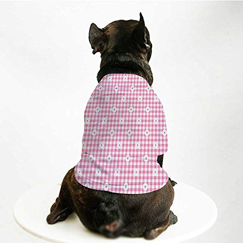 YOLIYANA Light Pink Warm Pet Suit,Checkered Striped Tartan Background with Daisy Petals Pastel Style Print Decorative for Pet Dogs,L