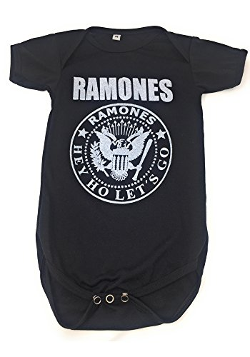 Tees Rock Baby (Sidecca Classic Rock Band Logo Short Sleeve Baby Bodysuit Onesie (Small (0-3 mo), Ramones - Black))