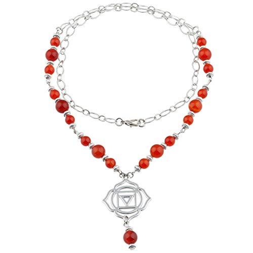 TUMBEELLUWA Beads Necklace Crystal Healing Quartz Chakra Symbol Energy with Alloy Charm Stone Jewelry,Carnelian