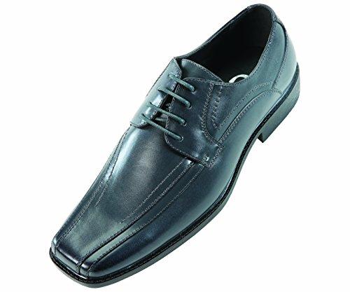 Sio Mens Classic Dark Grey Smooth Wide Width Oxford Dress Shoe: Style Mason-ww Dark Grey-011