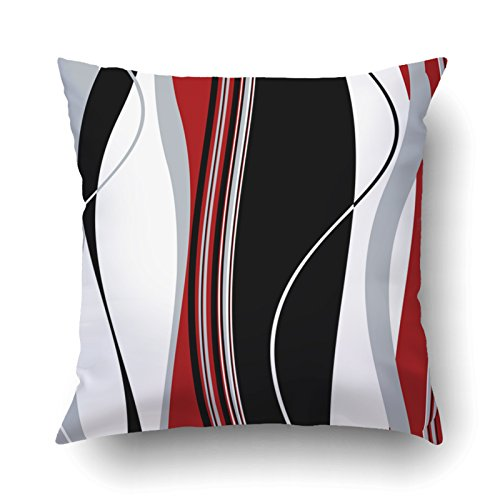 Argyle Metal Bed - Emvency Pillowcases Dec Vertical Wavy Black White Gray And Red Stripes Printing Cushion Cover Throw Pillow Cases Square 18x18 Inches