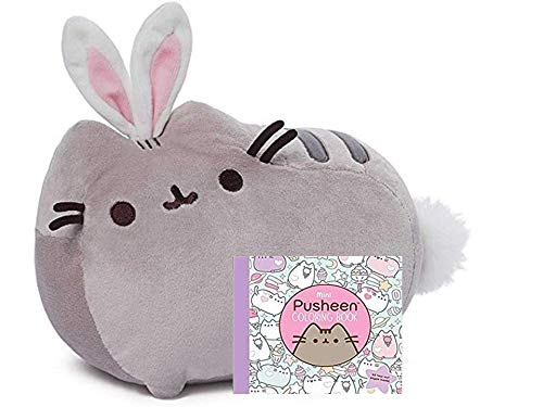 GUND Pusheen Cat as Bunny Rabbit Plush Stuffed Animal Collectible 10″ x 7″ Collection (Coloring Book Gift Set)