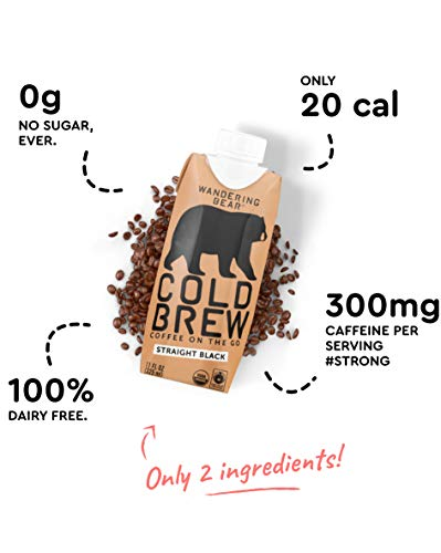 Wandering Bear Organic Cold Brew Coffee On-the-Go 11 oz Carton, Straight Black, No Sugar, Ready to Drink, Not a Concentrate (Pack of 12) by Wandering Bear (Image #4)