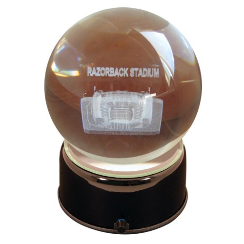 NCAA Arkansas Razorbacks War Memorial Stadium Razorbacks Etched Lit Musical Turning Crystal Ball (Stadium Crystal Ball Etched)