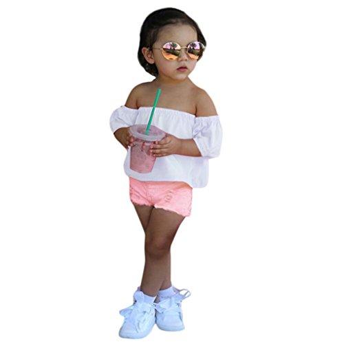 GoodLock Baby Girls Clothes Kids Off Shoulder Crop Tops+Deni