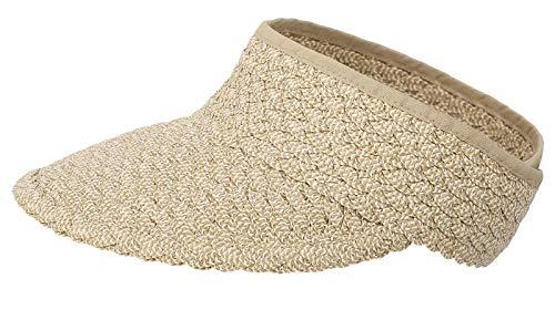 Simplicity Women's Roll Up Wide Brim Foldable Straw Sun Hat Visor, Mix Nature