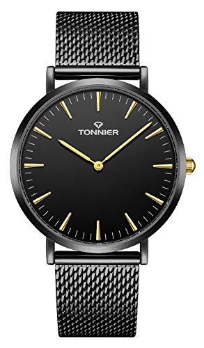 Tonnier Black Slim Stainless Steel Mesh Strap Mens Watch Quartz Watch for Men Golden Hands from Tonnier