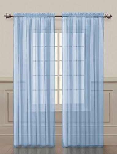 2 Pack: Ultra Luxurious High Thread Rod Pocket Sheer Voile Window Curtains by GoodGram - Assorted Colors (Baby Blue)